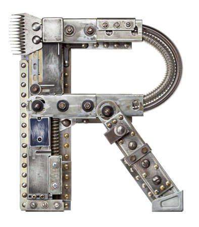 Industrial metal alphabet letter R