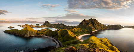 Photo for Landscape view from the top of Padar island in Komodo islands, Flores, Indonesia. - Royalty Free Image