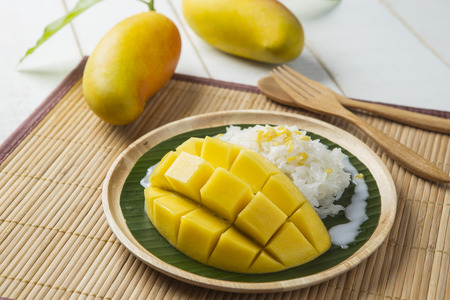 Photo for Dessert sweet sticky rice with mango coconut milk - Royalty Free Image
