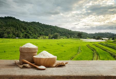 Foto de Asian white rice or uncooked white rice with the rice field background - Imagen libre de derechos