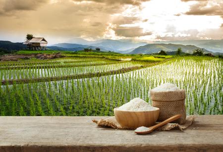 Foto de Jasmine rice in bowl and sack on wooden table with the rice field background - Imagen libre de derechos