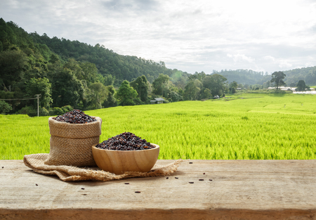 Foto de Rice berry in bowl and burlap sack on wooden table with the rice field background - Imagen libre de derechos