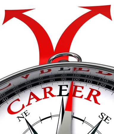 Photo pour career cross roads concept compass with red word and two arrows on white background  - image libre de droit