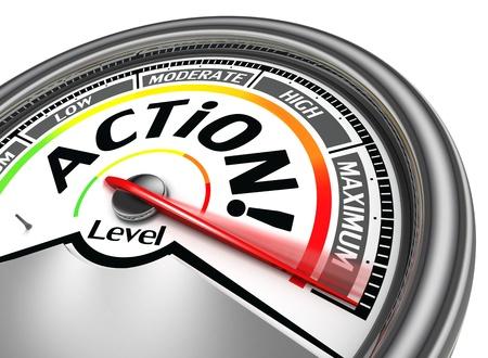 Photo pour action conceptual meter indicate maximum, isolated on white background - image libre de droit