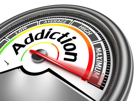 Foto de addiction conceptual meter indicate maximum, isolated on white background - Imagen libre de derechos