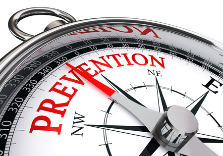 Photo pour prevention red word on concept compass, isolated on white background - image libre de droit