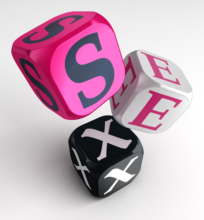 Photo for sex word on pink black box cubes. clipping path included - Royalty Free Image