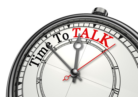 Photo for Time to talk red word on concept clock, isolated on white background - Royalty Free Image