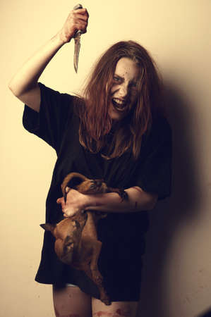 Girl possessed by a demon sacrificed dog. Bloody sabbath
