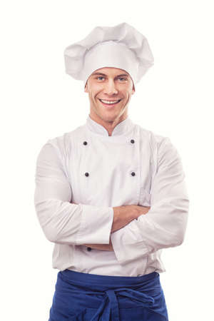 Foto de A male chef isolated over white background - Imagen libre de derechos