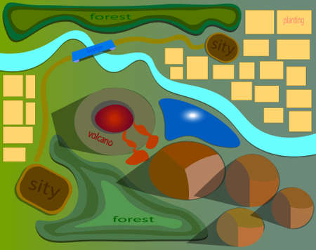 Illustration pour An image of the map where there is a volcano and the lava flowing from it. - image libre de droit