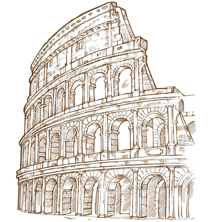 Illustration for colosseum hand draw isolated on white background - Royalty Free Image