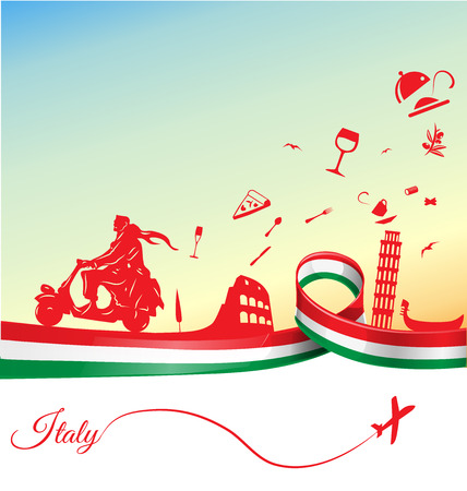 Foto de Italian holidays background with flag - Imagen libre de derechos