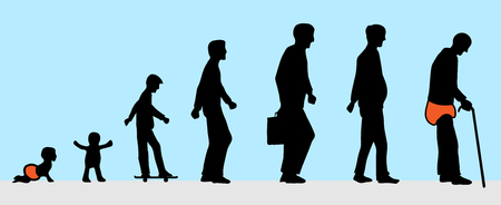 Illustration pour the man from young to old silhouette - image libre de droit