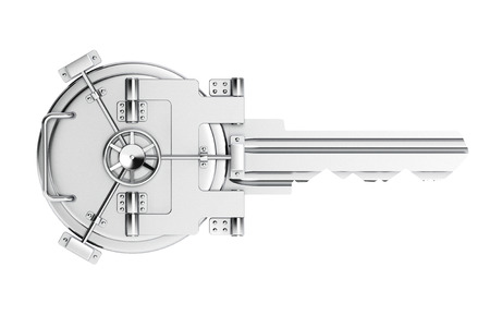Photo pour Key As Vault Bank Door on a white background - image libre de droit