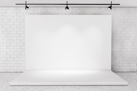 Foto de White Backdrop Stage in Room with Brick Wall extreme closeup - Imagen libre de derechos