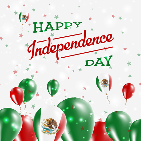 Illustration pour Mexico Independence Day Patriotic Design. Balloons in National Colors of the Country. Happy Independence Day Vector Greeting Card. - image libre de droit