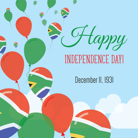 Illustration for Independence Day Flat Greeting Card. South Africa Independence Day. South African Flag Balloons Patriotic Poster. Happy National Day Vector Illustration. - Royalty Free Image