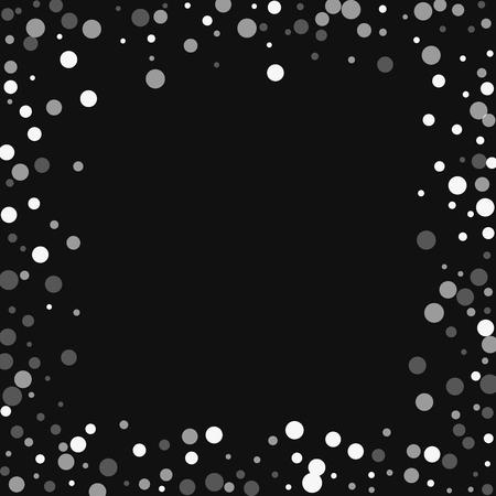 Ilustración de Falling white dots. Chaotic border with falling white dots on black background. Vector illustration. - Imagen libre de derechos