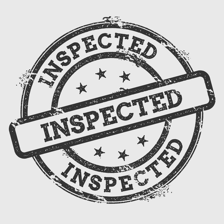 Ilustración de Inspected rubber stamp isolated on white background. Grunge round seal with text, ink texture and splatter and blots, vector illustration. - Imagen libre de derechos