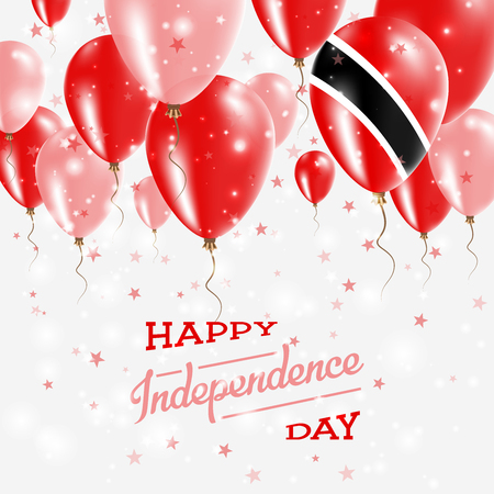 Illustration pour Trinidad and Tobago Vector Patriotic Poster. Independence Day Placard with Bright Colorful Balloons of Country National Colors. Trinidad and Tobago Independence Day Celebration. - image libre de droit