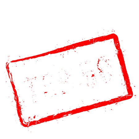 Ilustración de Top 50 red rubber stamp isolated on white background. Grunge rectangular seal with text, ink texture and splatter and blots, vector illustration. - Imagen libre de derechos