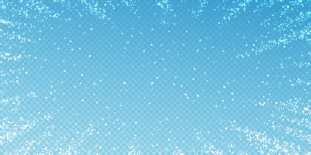 Photo for Magic stars sparse Christmas background. Subtle flying snow flakes and stars on transparent blue background. Alive winter silver snowflake overlay template. Good-looking vector illustration. - Royalty Free Image