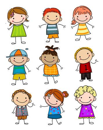 Illustrazione per Group of sketch kids - Immagini Royalty Free