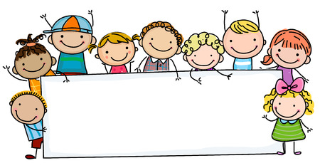 Illustration pour Sketch children and banner - image libre de droit