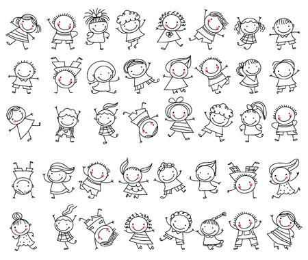 Illustration pour Group of sketch kids - image libre de droit