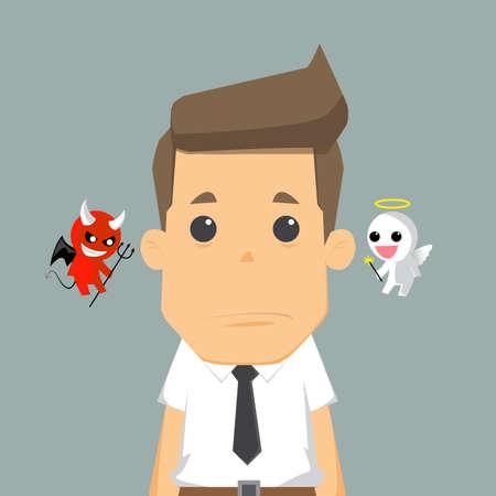 Ilustración de Shoulder devil and angel.vector - Imagen libre de derechos