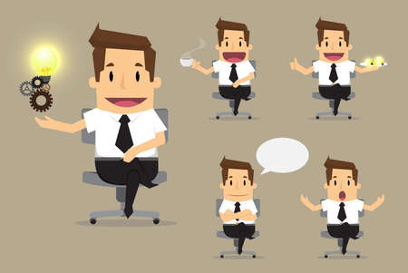 Ilustración de set of cute characters businessman and office worker poses in various.vector - Imagen libre de derechos