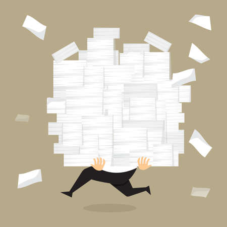 Illustration for Businessman run holding a lot of documents in his hands.vector - Royalty Free Image