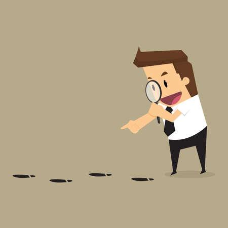 Ilustración de Businessman walking with magnifying glass, looking for foot mark  track on the ground.vector - Imagen libre de derechos