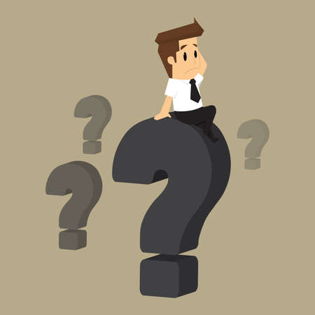 Ilustración de businessman who was confused, question. vector - Imagen libre de derechos