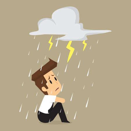 Illustration pour Unlucky businessman being wet from rain. vector - image libre de droit