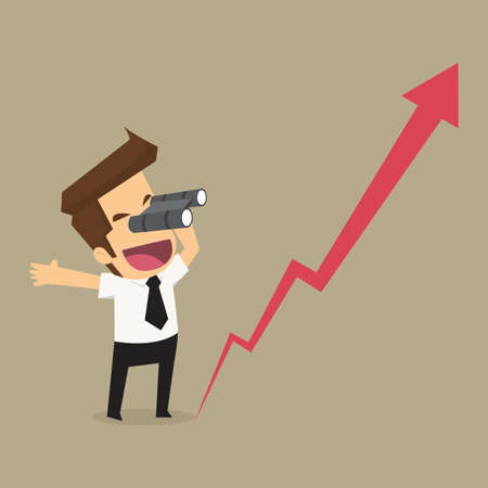 Illustration pour businessman using binoculars. Look at the growth of the business. vector - image libre de droit
