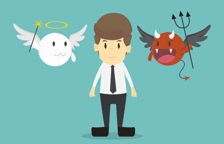 Illustrazione per Businessman with angel and devil on his shoulders.Cartoon of business success is the concept of the man characters business, the mood of people, can be used as a background, banner.illustration vector - Immagini Royalty Free