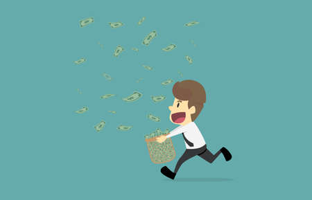 Businessman happy with money fall.Cartoon of business success is the concept of the man characters business, the mood of people, can be used as a background, banner, infographic illustration vector