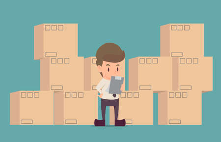Ilustración de Businessman product Inspection.cartoon of business success is the concept of the man characters business, the mood of people, can be used as a background, banner, infographic. illustration vector - Imagen libre de derechos