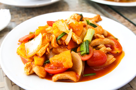 Photo for Sweet and sour chicken on a plate - Royalty Free Image