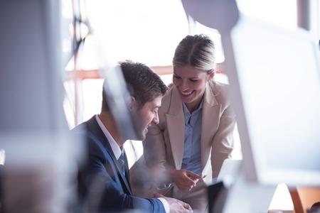 Photo pour happy young business man portrait in bright modern office indoor - image libre de droit