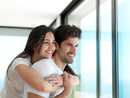 Photo pour romantic happy young couple relax at modern home indoors and have fun - image libre de droit