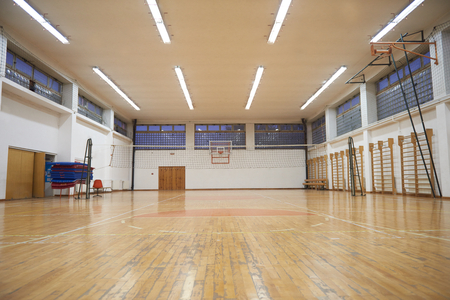 Photo for elementary school gym indoor with volleyball net - Royalty Free Image