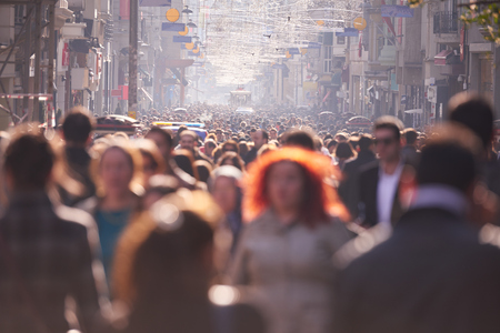 Photo pour people crowd walking on busy street on daytime - image libre de droit