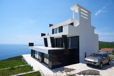 Photo pour External view of a contemporary house modern villa at  sunset - image libre de droit