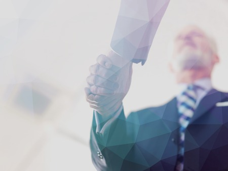 Photo for Double exposure design. Business partners, partnership concept with two businessman handshake - Royalty Free Image