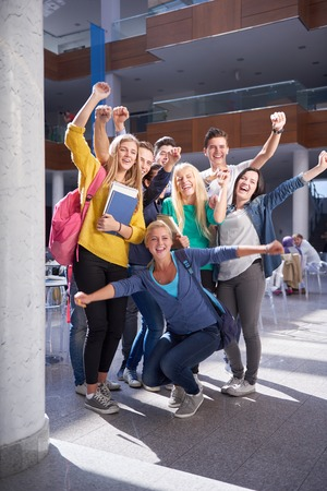 Photo for happy students group  study in classroom - Royalty Free Image