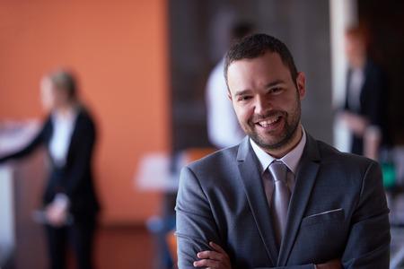 Photo pour happy young business man portrait  at modern meeting office indoors - image libre de droit