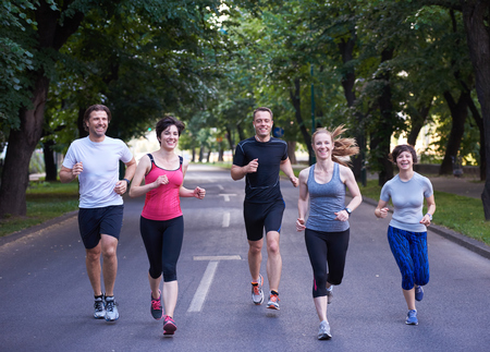 Photo pour people group jogging, runners team on morning  training - image libre de droit